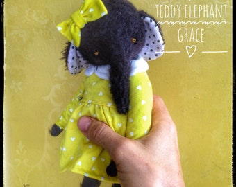7 inch Artist Handmade Halloween Teddy Elephant Grace by Sasha Pokrass