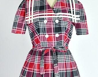 vintage 1950s dress • plaid dress