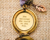 Women's Locket - She believed she could so she did - Back to School - Graduation Gift - College
