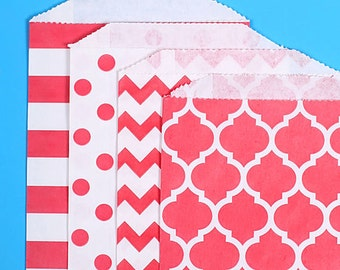 Red Favor Bags: 4 Design Pack, Valentine's Treat Bags, Red Goodie Bags, Treat Bags, Gift Bags, Chevron, Stripe, Polka Dot, Casablanca (12)