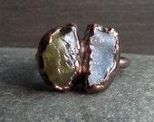 Raw Crystal Ring Rough Stone Jewelry Druzy Apatite Dual Stone Ring Gemstone Raw Copper Size 9 Artisan Handmade