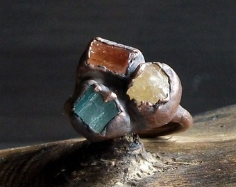 Raw Crystal Ring Rough Stone Jewelry Midwest Alchemy Small Stone Ring Copper Tourmaline Ring Topaz Ring Copper Size 6.5