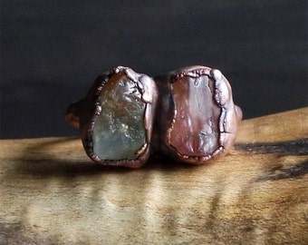 Topaz Ring Sapphire Ring Raw Natural Crystal Ring Midwest Alchemy Copper Size 5.5 Rough Stone Jewelry Dual Stone Boho Ring