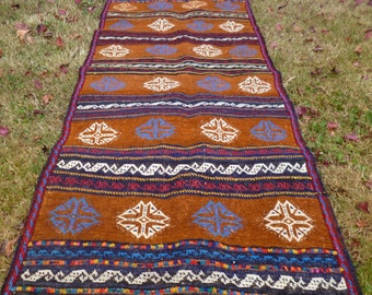 REDUCED: 5 ft 2 x 2 ft 5  Nice Patterned Afghan Carpet Kilim Rug Hand woven wool. 157 x 76 cm Tapis