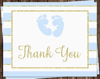 Glitter, Baby Shower, Thank You Cards, Footprints, Blue, Sky Aqua, Traditional, Gold, Glitter, 24 Folding Notes, FREE Shipping, ITBOY