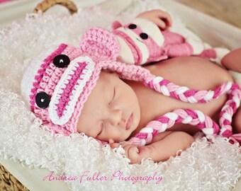 Baby Earflap Hat, Sock Monkey Hat, Pink Monkey Hat, Baby Girl Hat, Monkey Earflap Hat, Newborn Hat Prop, Winter Hat, Baby Girl Photo Props