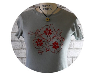 Poppy Flower Tshirt, Women's Cotton Crewneck Tshirt, Warm Grey, Red, Nature, Garden Folk Art, Short Sleeved, Hand Printed, Spring and Summer