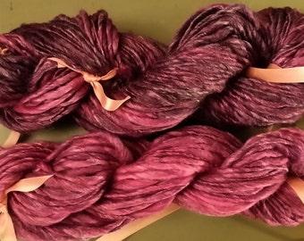 Handspun Yarn Superwash Merino and Bamboo - Two Coordinating Skeins - Grape Fizz - 150 Yards Total