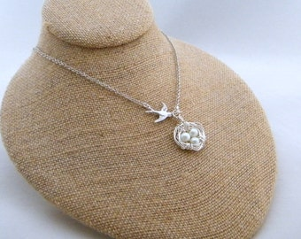 Bird Nest Necklace, Pendant Necklace, Hand Wrapped, Pearl Necklace, Shabby Chic Necklace