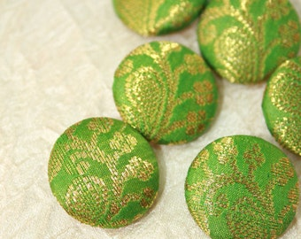 """Covered Sari Silk Lime Green Buttons, Gold Floral Embroidery Fabric 7/8"""" (22.22 mm) 6 Buttons"""