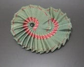 Green and Red Pleated Grosgrain Millinery Cocarde Applique