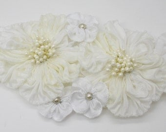 White on White Double Millinery Flower Applique