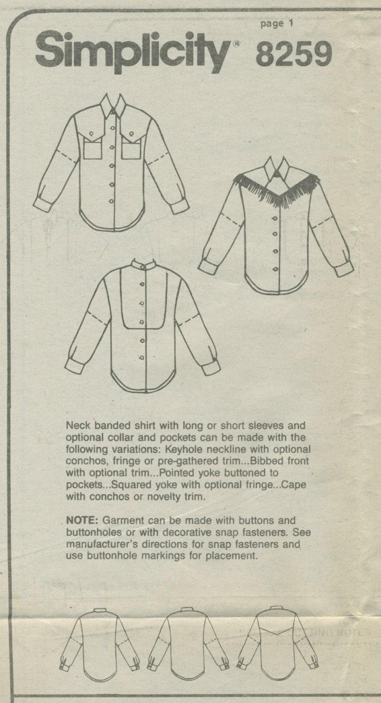 Western shirt sewing pattern size 6 8 10 simplicity 8259 uncut 1200 jeuxipadfo Images