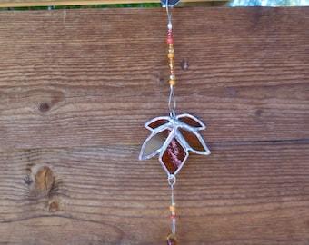 Stained Glass Mobile with Autumn Leaf - Amber - Handmade - Window Decor - Christmas - Birthday - Leaf - Suncatcher