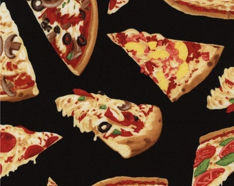 Timeless Treasures Fun Food HOT CHEESE PIZZA Slices On Black Fabric By The Yard