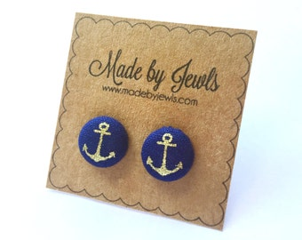 Fabric Button Earrings - Anchors Away - Buy 3, get 1 FREE