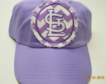ADULT Baseball Raggy St. Louis Cardinals Lavendar Purple Chevron Monogrammed Hat