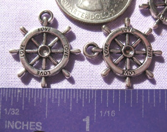 Love Ship Boat wheel charm Tibetan Silver Jewelry Supply 2 pieces steering