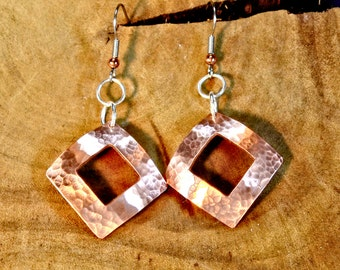 Hammered Copper Dangle Earrings Handmade with Square Window and Dapped Shape - ER891