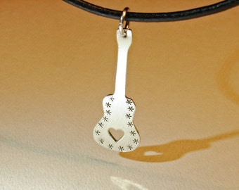 Sterling silver guitar necklace rocking out an artisan handcut custom electric guitar with mirror finish and space to personalize - NL739