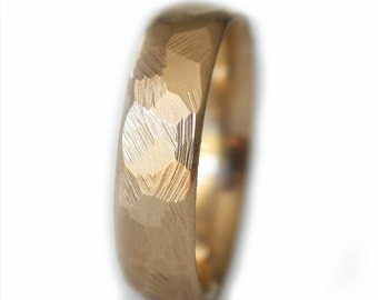 Mens Wedding Band, Gold Mens Engagement Ring, Men's band Ring, Anniversary Ring, Engagement Ring , Rustic Wedding Ring
