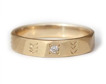 Wedding Ring 9K Yellow Gold leaf etched Wedding Band