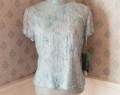 Vintage Early 1990s Light Blue Short Sleeve Beaded Top by Adrianna Papell