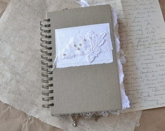 Spiral Bound Journal filled with Lace - Keepsake Book - Wedding Guest Book - Baby Book
