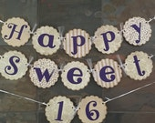 Happy Sweet Sixteen 16 Party Sign Decoration Banner Shabby Chic Lace Beach Sweet 15 Banner Sign Quinceanera Sweet 15 Banner Aqua Blue Bir