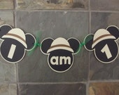 Mickey Mouse Safari I am 1 Sign Mickey Safari High Chair Sign Banner Mickey I am One 1 Banner Mickey 1st First Birthday Party Chair Sign