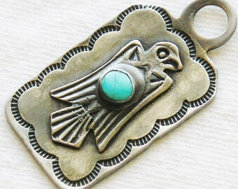 Southwest Harvey Era Sterling Silver Turquoise Thunderbird Tag / Pendant / Fobt
