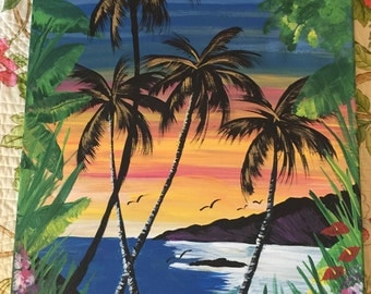 Hawaii Painting On Canvas Vintage Palm Trees and Sunset Ocean and Floral By D. Lynn