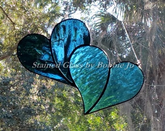 Sky Blue and Smokey Blue Double Stained Glass Heart Sun Catcher Great for Valentines Day!