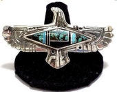 RESERVED for Peaches Amazing Native American Sterling Silver Turquoise Black Onyx Inlay Eagle Vintage Ring