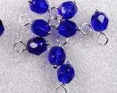 10 - Handmade 6mm Czech Bead Dangles-Charms Dark Saphhire Blue