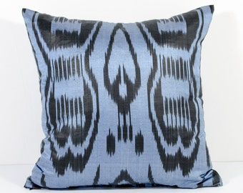 15x15 blue ikat pillow cover, pillow case, blue ikat, blue pillow, ikat cushion, decorative pillow, blue, throw pillow, pillow covers 16x16