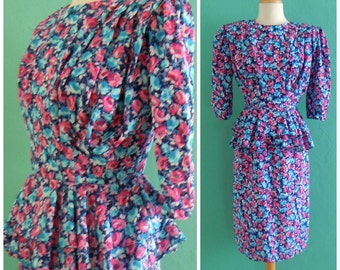 80's floral peplum dress // spring floral print dress ~ small medium