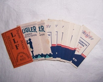 Vintage 10 Packs Gummed Cigarette Papers B&W, Bugler, Riz La Croix Some Papers in Each Pack 1950s 1970s Tobacciana