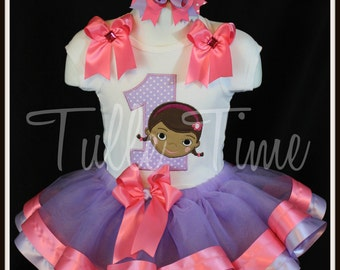 Doc McStuffins 1st 2nd 3rd 4th 5th number birthday shirt onesie ribbon tutu dress combo bow headband size 12m 18m 24m 3t 4t 5t