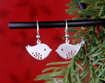 Silver bird charms and sterling silver earrings, modern charms, lovebird earrings, bird jewelry, bird earrings, valentine day, valentines