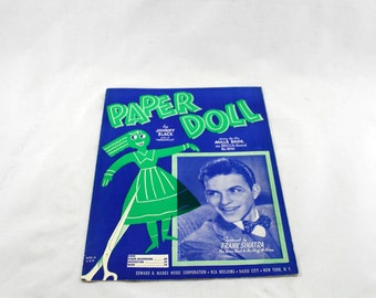 Paper Doll by Johnny Black. Featured by Frank Sinatra. Vintage Sheet Music 1942