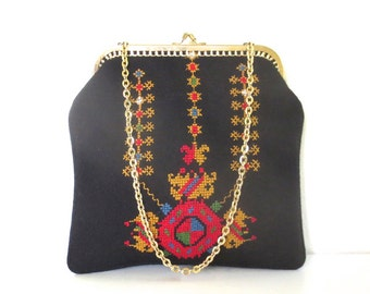Vintage Cross Stitch Embroidered Pouch/Clutch