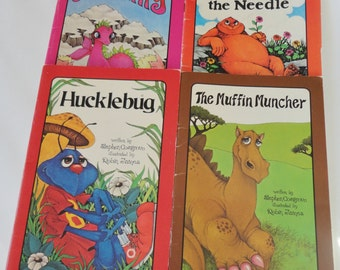 4 Vintage Childrens Serendipity books - Hucklebug, The Muffin Muncher, Serendipity, Wheedle on the Needle - Stephen Cosgrove, 80s Reading