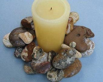 Earth Tone Rock Wreath or Candle Ring – RW335