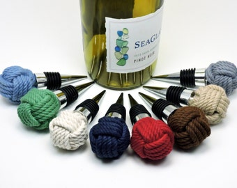 Nautical Monkey Fist Knot Bottle Stopper for Wine Bottles 8 Colors