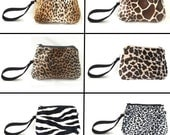 Faux fur Clutch, Animal Print Pouch, Cougar pouch, Fur Zipper Clutch, Bridesmaid Clutch, Small zipper pouch, CarolJoyFashions6