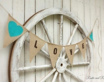 Love garland with teal hearts