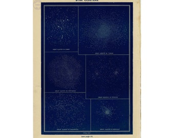1926 STAR CLUSTERS LITHOGRAPH original vintage star map celestial astronomy chart print