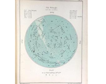 1910 july month rare celestial star map original antique astronomy print lithograph X leo cancer