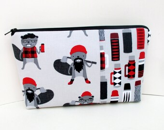 Cosmetic Zipper Pouch, Burly Beavers, Lumberjacks Red and Gray, Make up Bag